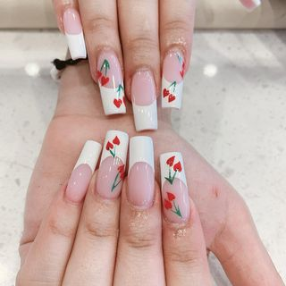 Cute Summer Red Valentine Flower Heart Xmas Ombre Nail Designs  (#135902)